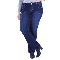 Juniors' Plus Size Amethyst Baby Bootcut Jeans, Teens, Size: 18W Short, Dark Blue