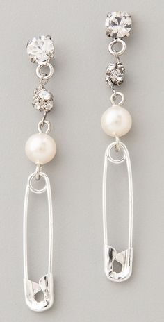 #DIY safety pin and pearl earrings. Orig price $154.00. Keep Calm & Do It Yourself instead!