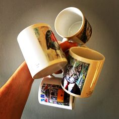 MUG COLLECTION by ©philippe patricio / small edition by the artist / printed on both sides // more info: philippe. Print Artist, Collage Art, Portugal, Mugs, Printed, Animals, Collection, Decor, Animales