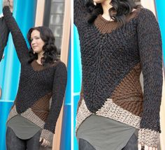 Black brown and beige hand crocheted sweater inspired by Katniss in Hunger Games: Catching Fire