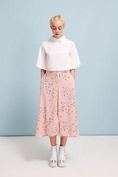 Button-through Midi Skirt in Floral Print