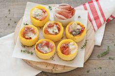 Cestini di polenta con gorgonzola e speck ricetta