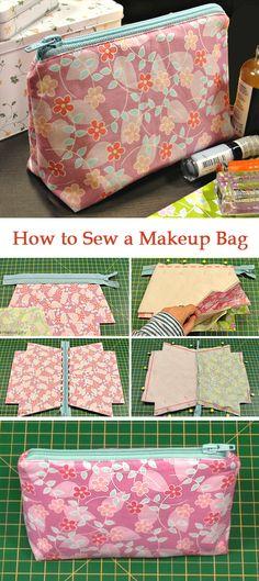 How To Sew A Makeup Bag ~ Diy Tutorial Ideas! How to Sew a Makeup Bag ~ DIY Tutorial Ideas! diy makeup bag - Diy Bag and Purse Sewing Makeup Bag, Makeup Bag Pattern, Diy Quilted Makeup Bag, Bag Patterns To Sew, Sewing Patterns Free, Free Sewing, Free Pattern, Knitting Patterns, Makeup Bag Tutorials