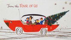 #858 50s Norcross Mid Century Family in the Sedan-Vtg Christmas Card-Greeting