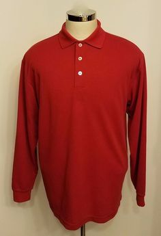 Bugatchi Mens Polo Shirt Red Ribbed Long Sleeve Size M #BugatchiUomo #PoloRugby