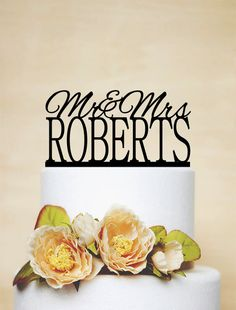 Mr And Mrs Design Cake Topper With Your Last Name by AcrylicDesignForYou