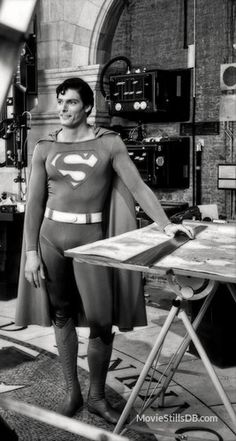 Superman - Behind the scenes photo of Christopher Reeve