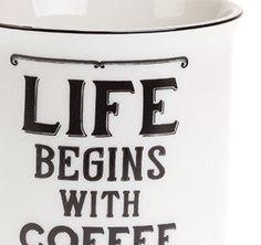 Kubek Life begins with coffee Sklep Wyposażenie i Dekoracja Wnętrz - Wystrój Domu - Prezenty - Sklep Country Avenue