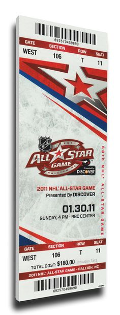 2011 NHL All Star Game Canvas Mega Ticket - Hurricanes Host - RBC Center