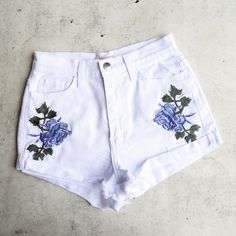 high waisted shredded hot shorts with floral applique - white from shophearts. Saved to clothes.
