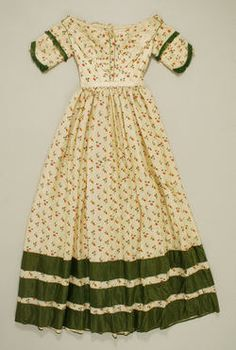 1842 Dress  More cutsie patterns/colors from the 1840s. I'd like to build a color palette around these items to contrast the present-day students.