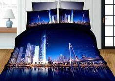 3D ložní povlečení černo modré barvy s motivem města