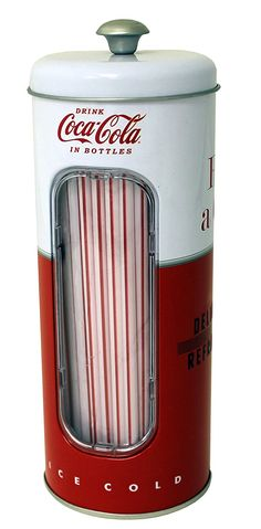 AmazonSmile: Coca-Cola Collectible Tin Straw Holder with 50 Straws (Style 2): Home & Kitchen