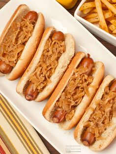 Hot dogs simmered in beer are deliciously tender and have a mild flavor that works perfectly with our beer-infused sauerkraut topping.