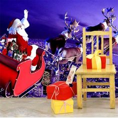 Christmas Wall Mural Photo Wallpaper Wall Stickers Christmas Home Decoration