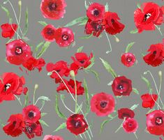 poppies on canvas fabric by katarina on Spoonflower - custom fabric
