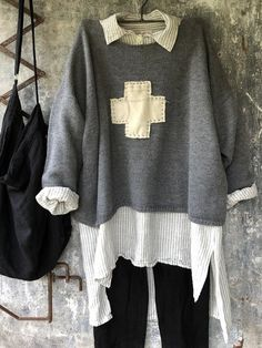 Hand Knitted Woollen Jumper Grey Boyfriend with Swiss Cross Over 50 Womens Fashion, Fashion Over 50, Sweater Shirt, Jumper, Chanel Sweater, Fall Outfits, Cute Outfits, Layered Fashion, Fashion Line