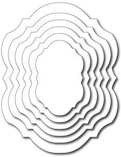 Frantic Stamper Precision Die - Bracket Coved Label In-Betweens (set of 6 dies)