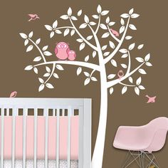 Owl Tree  Girl Baby Owl Nursery Theme  Nursery Wall by Lulukuku, $72.00