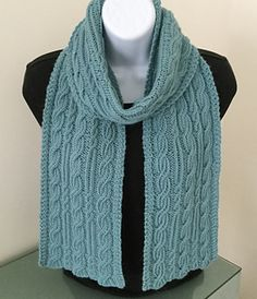 The Ainsley Twisted Rib Cable Scarf by Donna Brooks