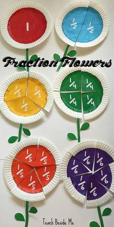 FREE Printable Fraction Flowers - what a fun way for visualize fractions (math, math activity, 2nd grade, 3rd grade, 4th grade, 1st grade) by Suzzette Berube