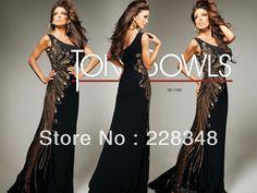 Elegant Scalloped Pne SHoulder A-line Black Chiffon Floor Length Beaded New Arrival Prom Dresses Evening Gowns 2013 $163.00