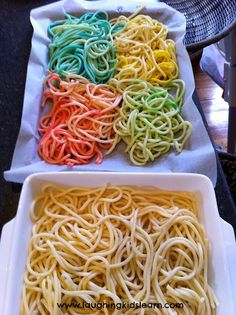 Coloured spaghetti for play