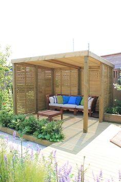 Diy Pergola, Wooden Pergola, Outdoor Pergola, Backyard Patio, Backyard Landscaping, Corner Pergola, Cheap Pergola, Pergola Lighting, Pergola Shade