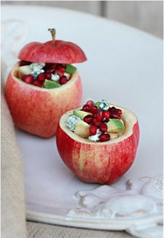 Harvest Apple Salad - Apple, pomegranate, avocado & blue cheese salad in an apple bowl Cute Food, Good Food, Yummy Food, Cooking Recipes, Healthy Recipes, Vegetarian Recipes, Apple Salad, Fruit Salad, Apple Harvest