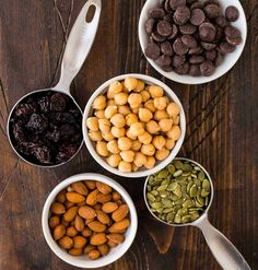 Make this easy, high-protein recipe for your next snack attack! Sweet roasted chickpeas with cinnamon are mixed with dried cherries, almonds, pumpkin seeds, and dark chocolate for a delicious treat. Roasted Chickpeas Snack, Chickpea Snacks, Healthy Snacks, High Protein Recipes, Protein Foods, Vegan Recipes, Roasted Chic Peas, Snacks To Make, Dried Cherries