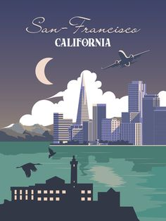 San Francisco poster Travel Vintage art Retro print Wall art California decor printable USA gift city design