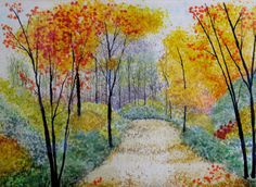 """Orange and yellow fall colors in fused glass.  """"Country Lane""""  http://www.wanderingmindglass.com/fused-glass-landscapes/single-gallery/9545418#"""