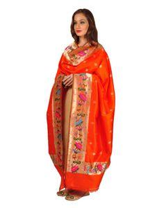 Orange Banarasi  Pure Silk Paithani Weave  Dupatta