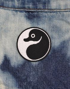 Mini Yin Yang Platypus Badge Iron-on Patch Punk Patches, Iron On Patches, Yin Yang Designs, Platypus, Patch Design, White Embroidery, Misfits, Lululemon Logo, Streetwear