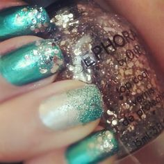 Turquoise and Silver glitter nail art