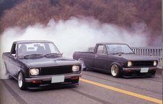 happy monday, everyone ~ Small Trucks, Mini Trucks, Toyota Hilux, Toyota Corolla, Nissan Sunny, Classic Japanese Cars, Datsun 510, Japan Cars, Classic Motors