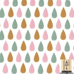 tissu coton gouttes d'eau rose vert et moutarde - Pastel - Tissu ameublement, déco, accessoires, patchwork : Tissus Habillement, Déco par cousu-main-mercerie