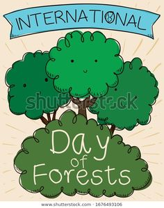 Greeting ribbon and cute friendly trees smiling and celebrating International Day of Forests in hand drawn style. Forests, Hand Drawn, How To Draw Hands, Royalty Free Stock Photos, Ribbon, Trees, Smile, Day, Illustration