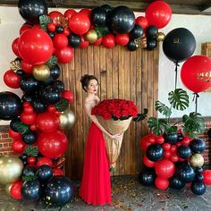 Masquerade Party Decorations, White Party Decorations, Birthday Balloon Decorations, Quince Decorations, Home Wedding Decorations, Christmas Decorations, Balloon Flowers, Balloon Garland, Red Balloon