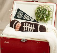 Football Photography Set | 2-piece set. Hand-knit photo set includes crocheted hat and football 'sack' with lace stitching. Together they create a precious football bundle.