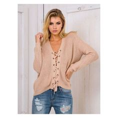 Khaki Plunge V-neck Lace Up Front Long Sleeve Knit Jumper ($50) ❤ liked on Polyvore featuring tops, sweaters, red top, red knit sweater, khaki sweater, plunging v neck top and v neck sweater