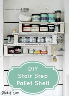 Stair Step Pallet Shelf for Craft Supplies