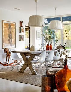 Modern and rustic elements mix in this airy dining room.