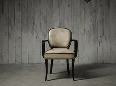 Upholstered tanned leather chair with armrests BRIDGE by Fleming & Howland