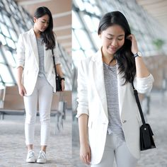 Meijia S - Mango White Blazer, Mango Jeans, Adidas Sneakers, Saint Laurent Bag, Daniel Wellington Watch, Alexander Wang T Shirt - White