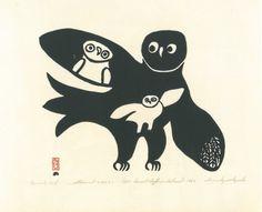 : Innukjuakju Pudlat (1913-1972), Female Owl and Young, 1960. Printed by Lukta Qiatsuk (1928-2004). Cape Dorset. Stonecut.