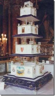 Prince Andrew and Sarah Ferguson (1986)  Prepared at the Royal Navy Cookery School in Torpoint, England, this white- and yellow-iced cake incorporated five tiers, weighed 240 pounds, and reached five and a half feet tall. The marzipan cake recipe used 15 ingredients and featured rum, brandy, and port flavors. from Brides magazine. http://www.brides.com/celebrity-wedding/royal-wedding/2011/04/real-royal-wedding-cakes#slide=7