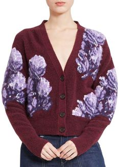 Great for Chlo? Floral Intarsia Wool-Blend Cardigan BURGUNDY Womens Fashion Clothing from top store Studded Shirt, Toga Pulla, Burgundy Fashion, Ruffle Dress, Wool Blend, Chloe, Mini Skirts, Skinny Jeans, Clothes For Women