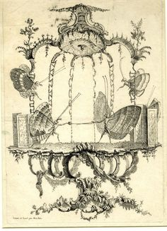 Rocaille structure with two butterflies duelling on a platform. c.1756/60 Etching by Saint-Aubin