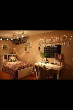 Bedroom Idea 3: Clothes pins with clothes line (developed pictures), shadow boxes